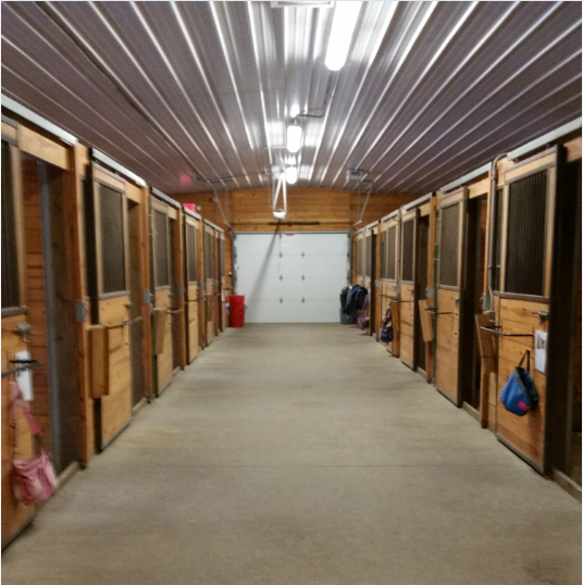 Interior of Dudley Barn Stalls at Leatherdale Equine Center